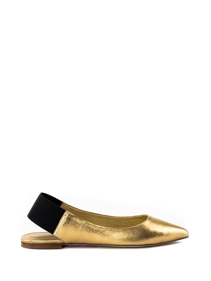 L37 Skórzane baleriny w kolorze złotym