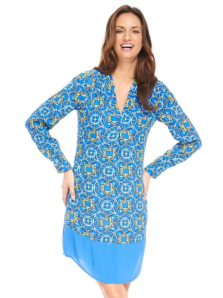 Kleid blau gelb