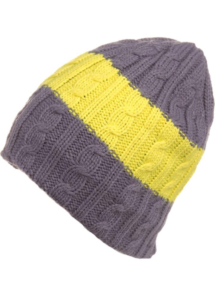 Kamik Dzianinowa czapka w kolorze szaro-żółtym