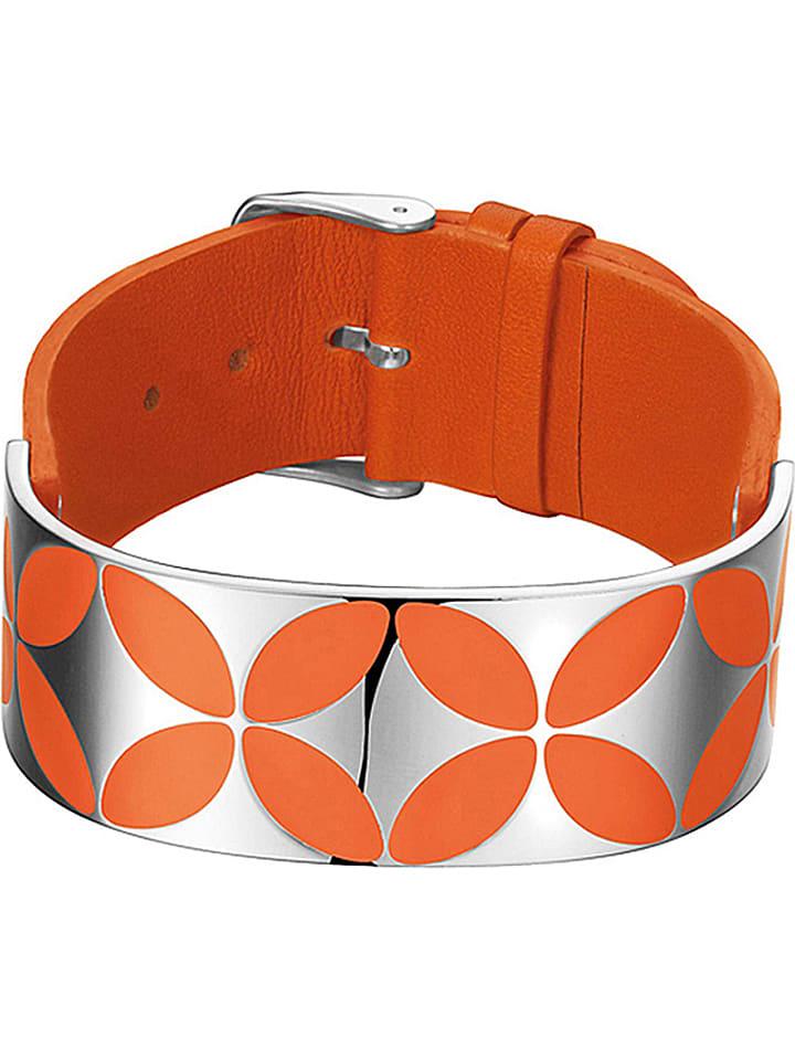 ESPRIT Leder-Armband mit Schmuckelement in Orange/ Silber