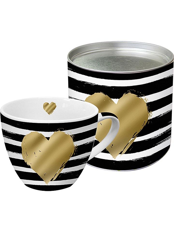 """Ppd Tasse jumbo """"Heart & Stripes"""" - noir/blanc/doré - 400 ml"""