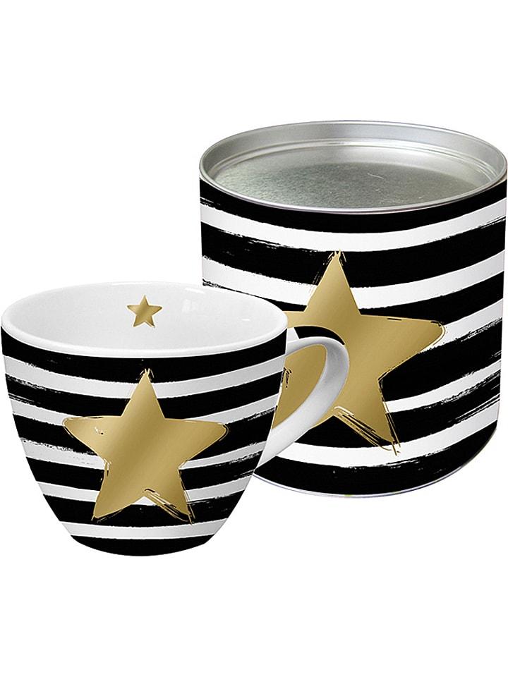 """Ppd Tasse jumbo """"Star & Stripes"""" - noir/blanc/doré - 400 ml"""