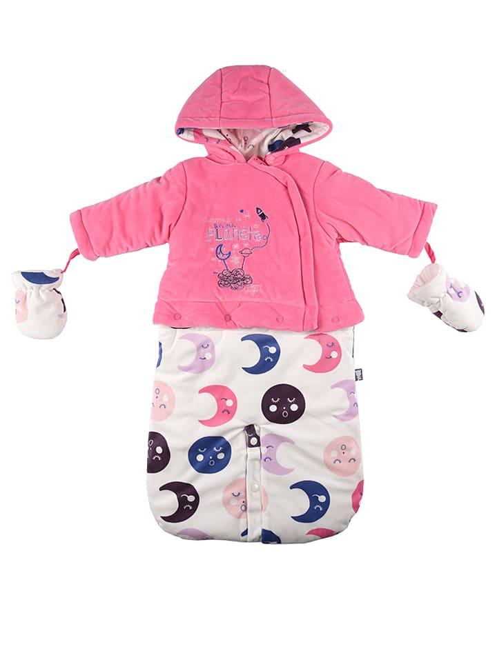 Petit Beguin Śpiworek zimowy w kolorze różowo-białym ze wzorem