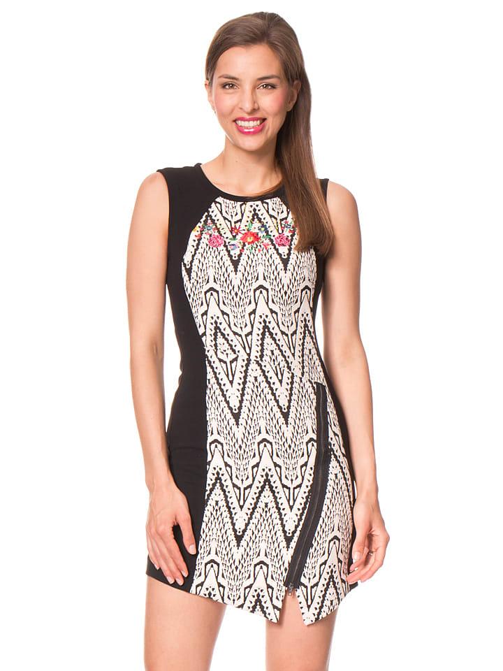 """Desigual Sukienka """"Oregon"""" w kolorze czarno-kremowym"""
