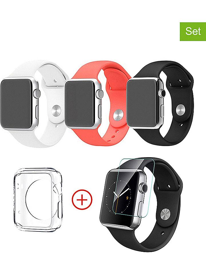 "Evetane 5-delige accessoireset ""Smartwatch"" zwart/rood/wit - 42 mm"
