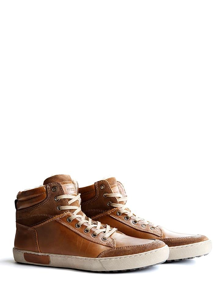 """TRAVELIN' Skórzane sneakersy """"Sandvik"""" w kolorze brązowym"""