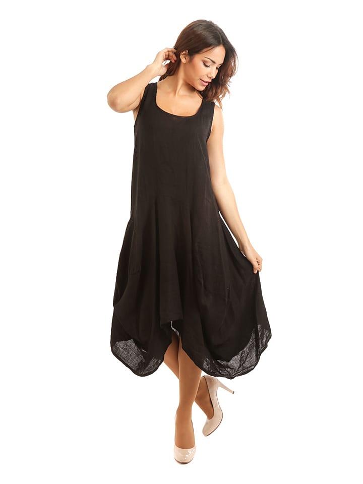 100% Leinen Lniana sukienka w kolorze czarnym