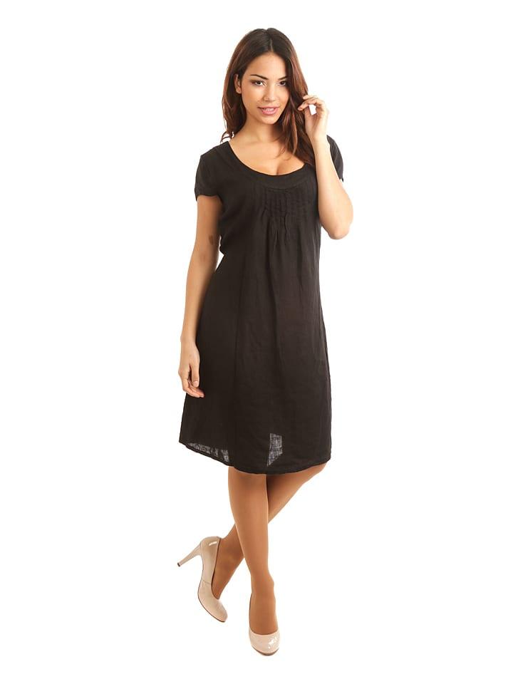 """Maison du Lin Lniana sukienka """"Paris"""" w kolorze czarnym"""