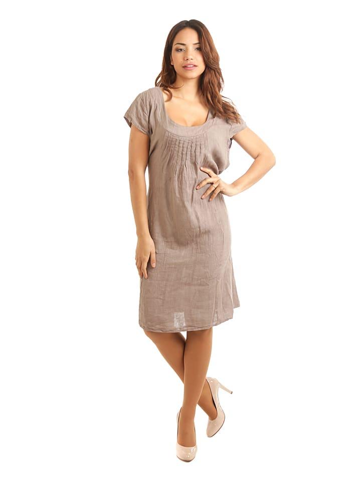 """100% Leinen Lniana sukienka """"Paris"""" w kolorze szarobrązowym"""