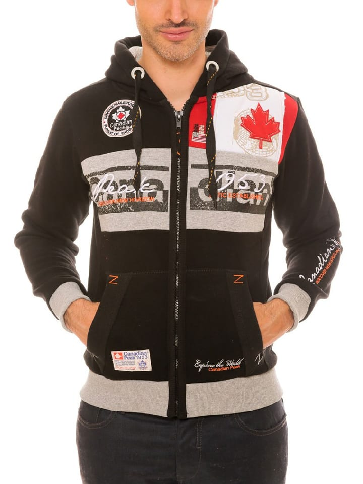 "Canadian Peak Sweat zippé ""Face"" - noir"