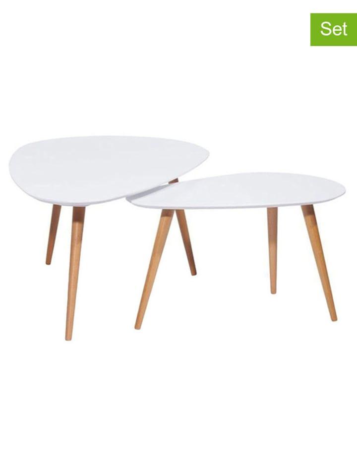 Dom z pomysłem 2-częściowy zestaw stolików w kolorze białym