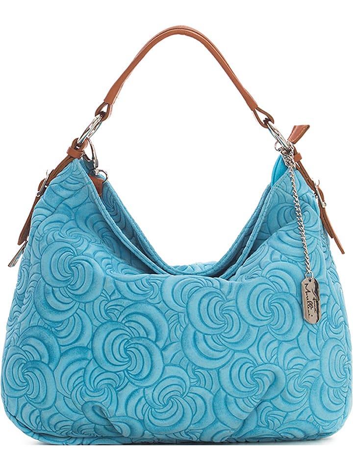9efb7f3f90009 Anna Morellini Skórzana torebka w kolorze błękitnym - 35 x 30 x 15 cm
