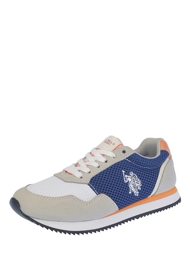 """U.S. Polo Sneakers """"Nutty Fluo"""" beige/blauw"""