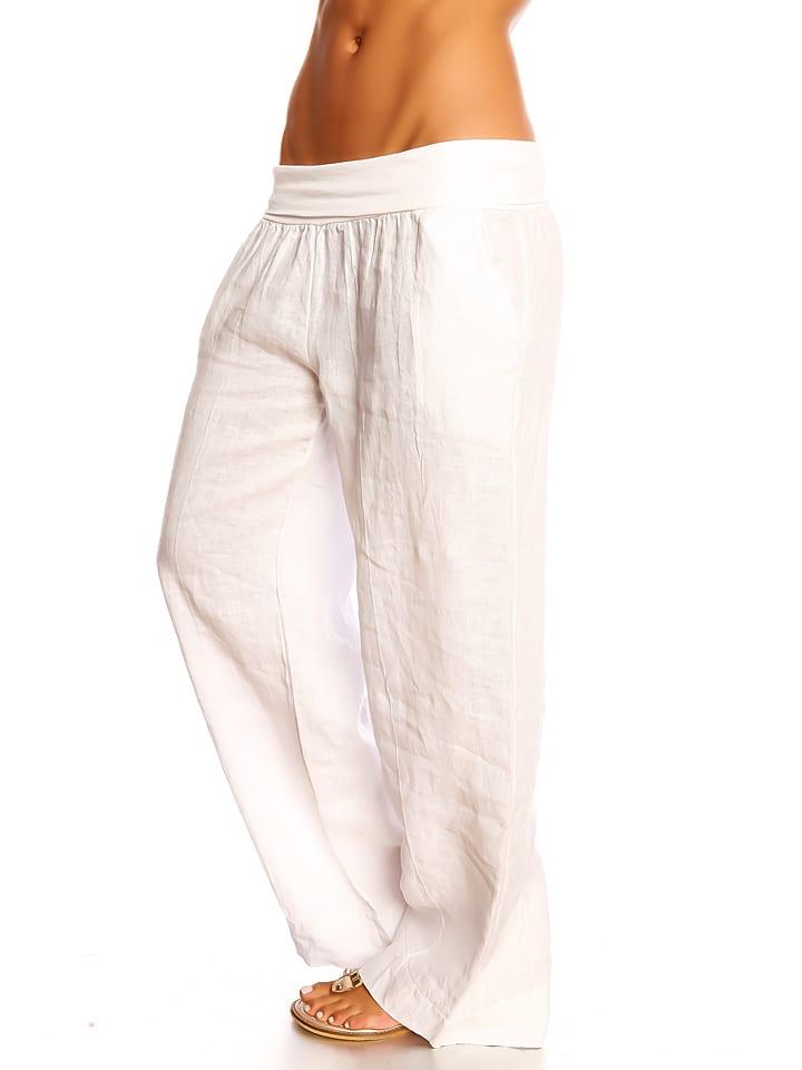 Vaak 100% LIN - Linnen broek ''Lea'' wit | limango Outlet #UG27