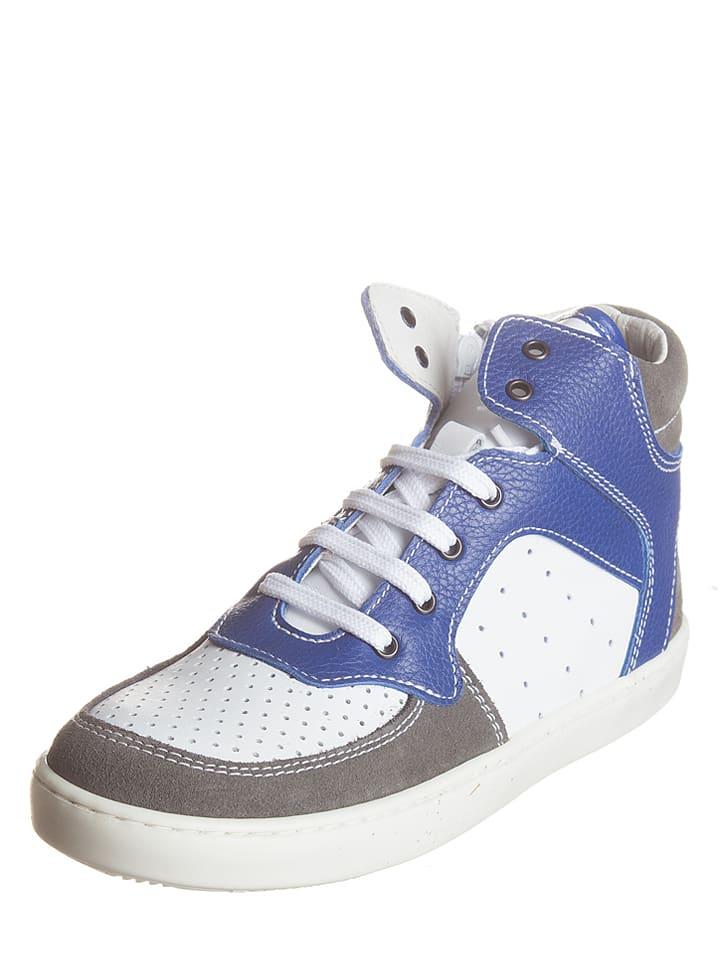 Kmins Skórzane sneakersy w kolorze biało-niebiesko-szarym