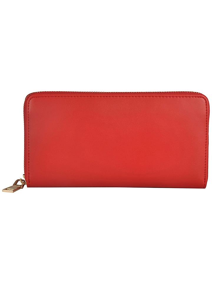 """Florence Bags Skórzany portfel """"Quero"""" w kolorze czerwonym - 20 x 10 x 2 cm"""
