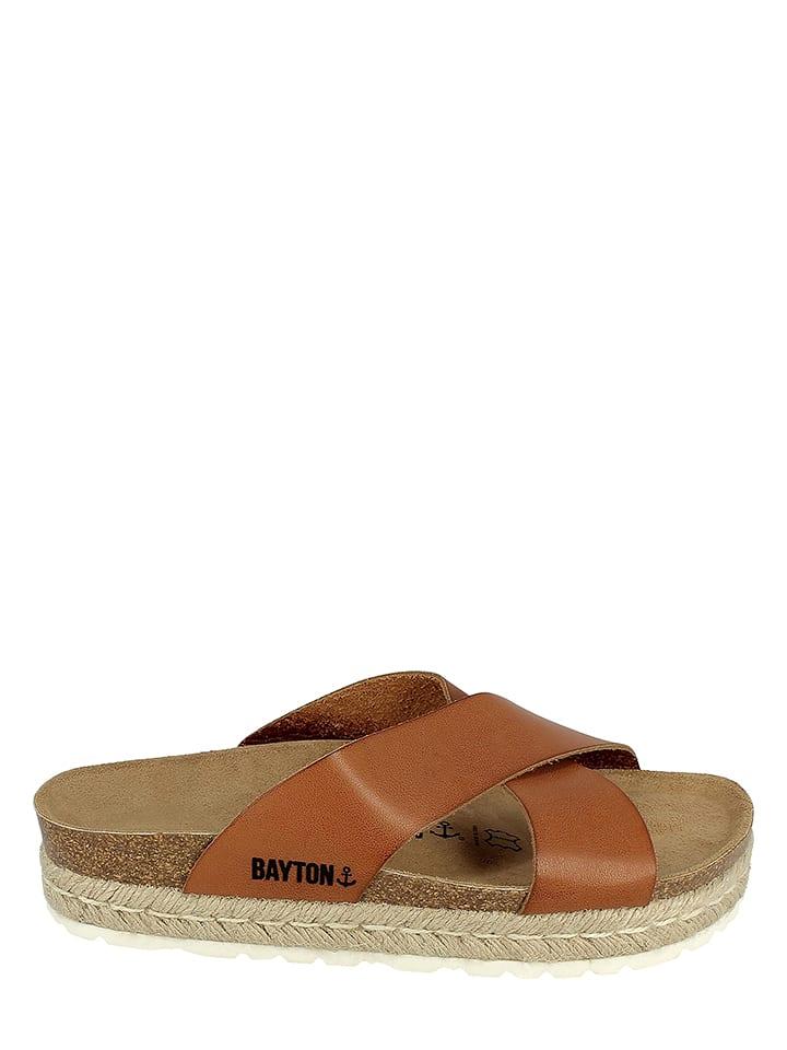 BAYTON Leder-Pantoletten in Braun