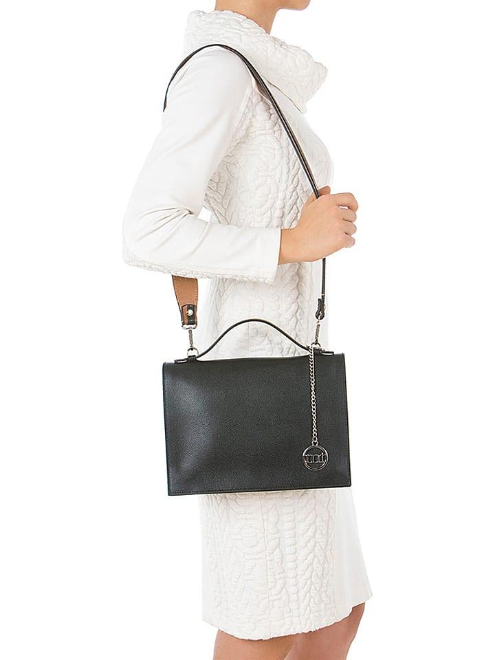 Skórzana torebka w kolorze czarno jasnobrązowym 30 x 20 x 8 cm