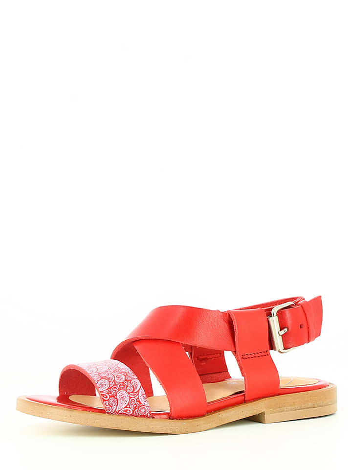 "Yep by Jonak Leren sandalen ""Dany"" rood"