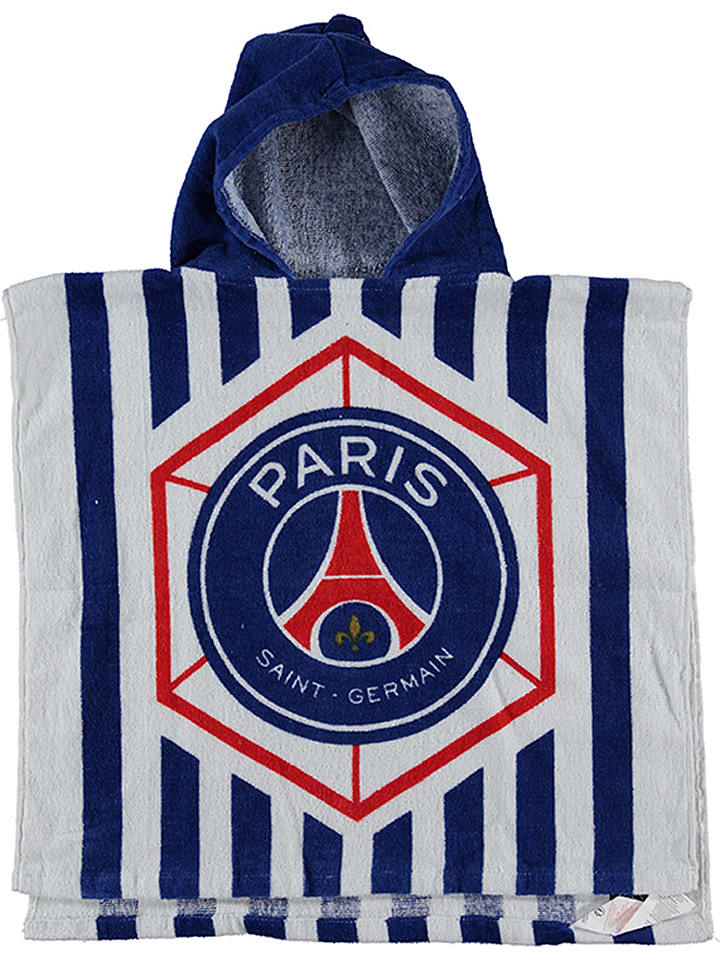 Paris Saint-Germain Badeponcho in Weiß/ Dunkelblau/ Rot