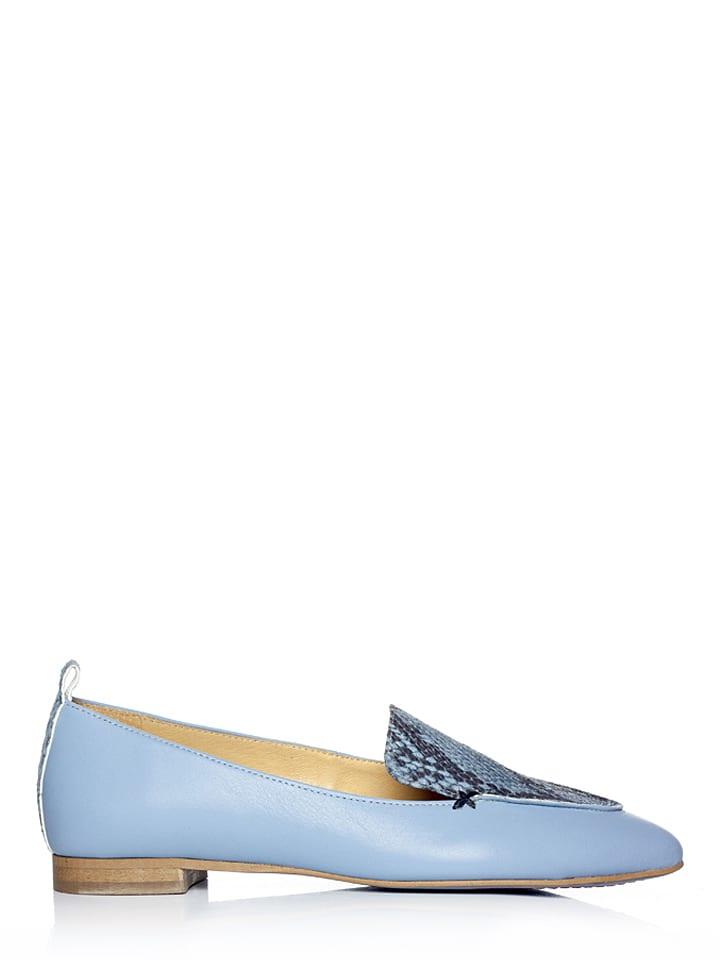 L37 Skórzane lordsy w kolorze jasnoniebieskim