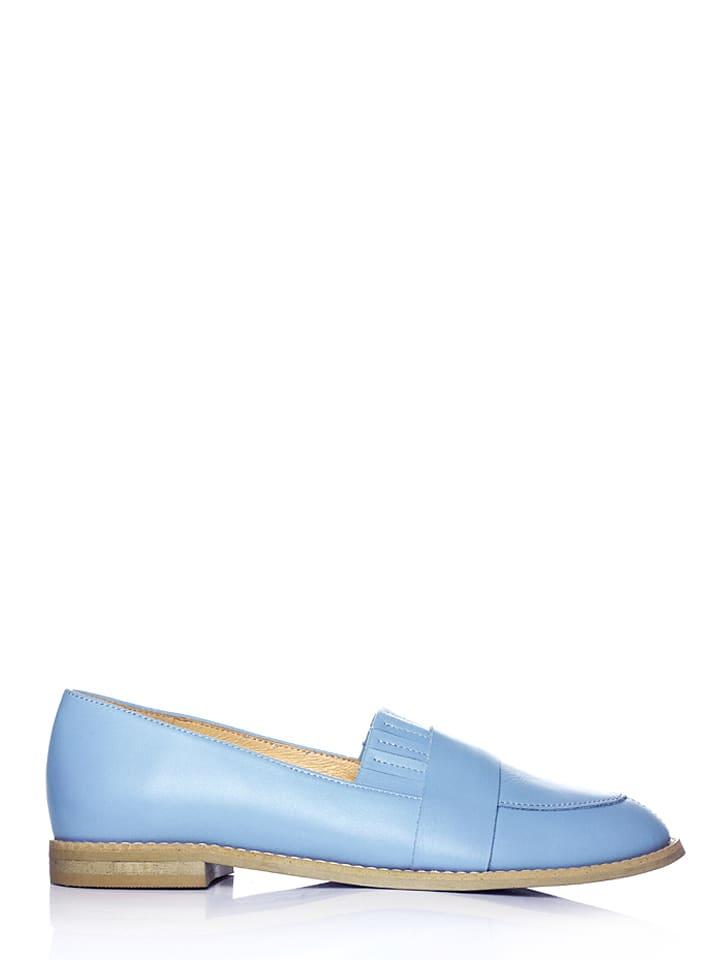 L37 Skórzane półbuty w kolorze jasnoniebieskim