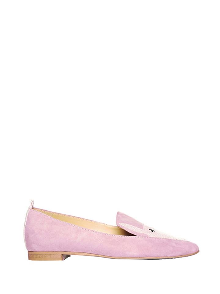 L37 Skórzane slippersy w kolorze różowym