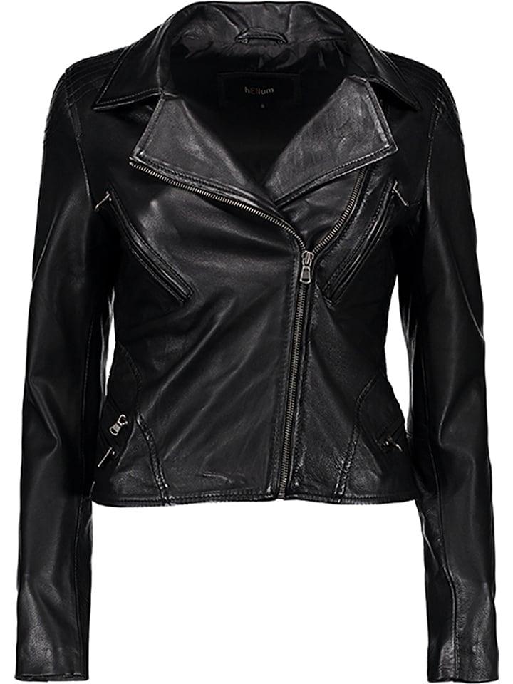 HELium Skórzana kurtka w kolorze czarnym