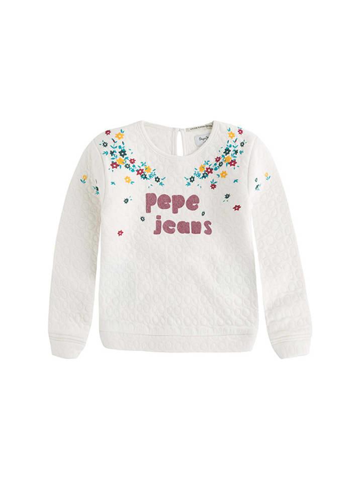 Pepe Jeans Bluza w kolorze kremowym ze wzorem