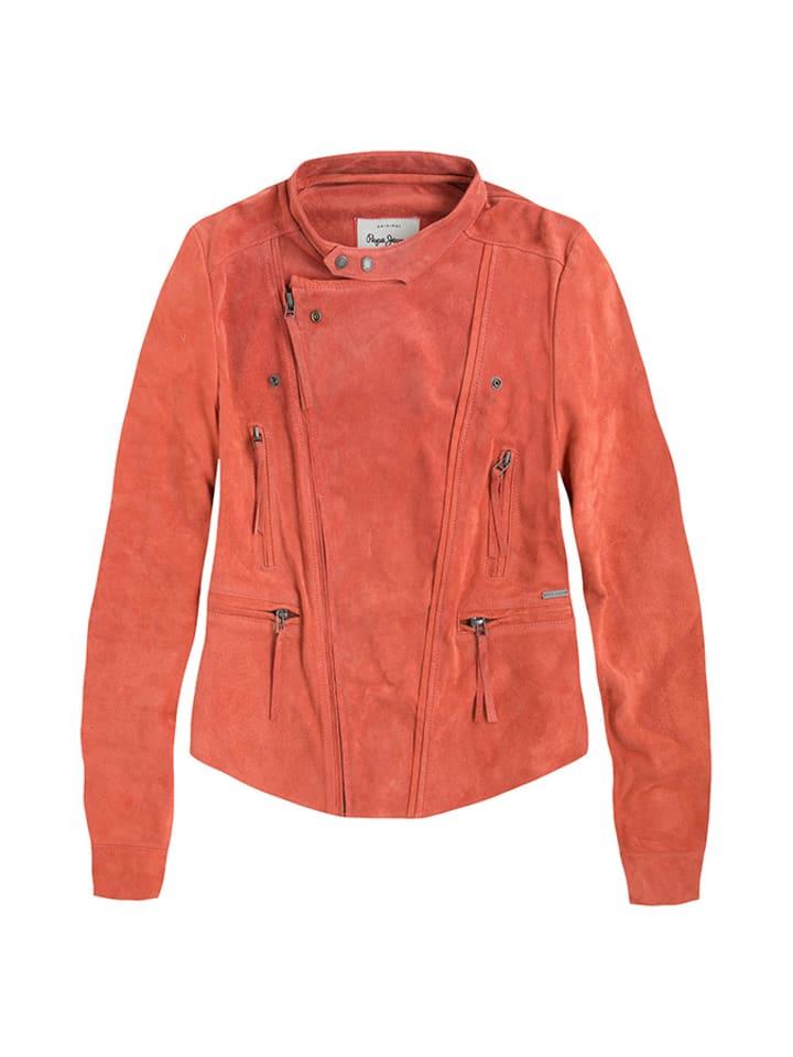 Pepe Jeans Skórzana kurtka w kolorze pomarańczowym