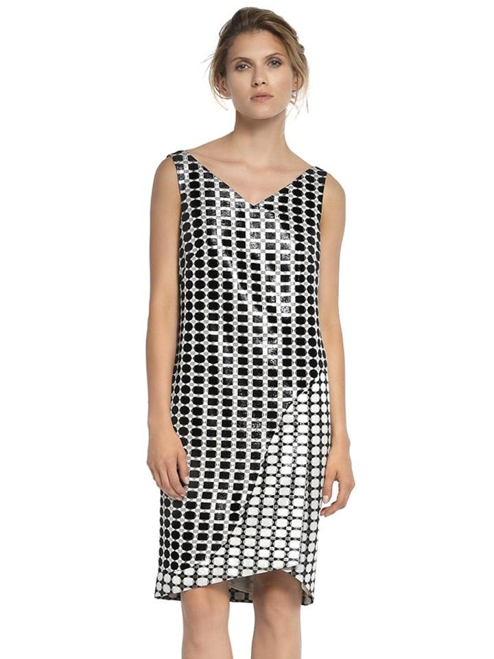 Deni Cler Sukienka w kolorze biało-czarnym