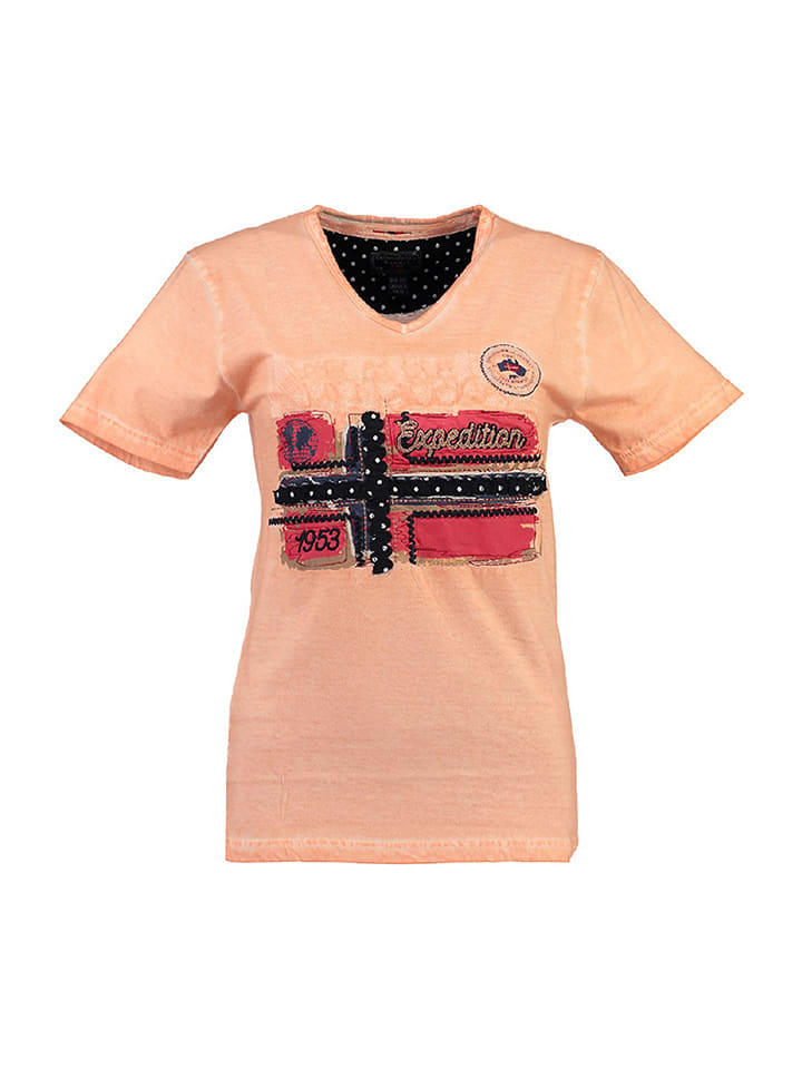 """Geographical Norway Koszulka """"Jarlotte"""" w kolorze brzoskwiniowym"""
