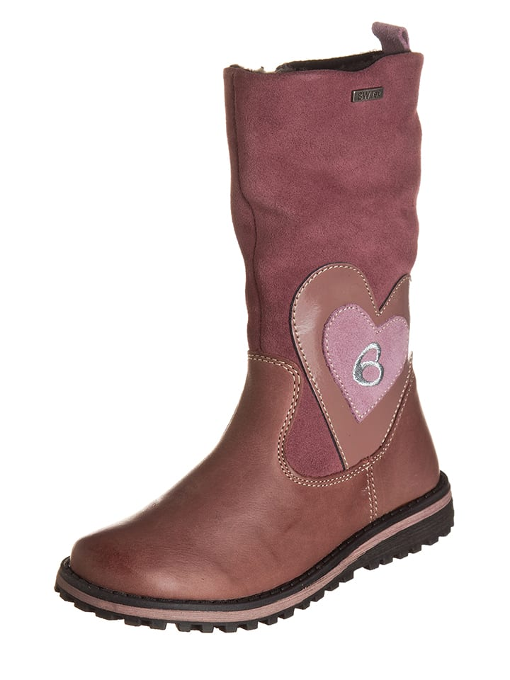 Billowy Leder-Stiefel in Rosa