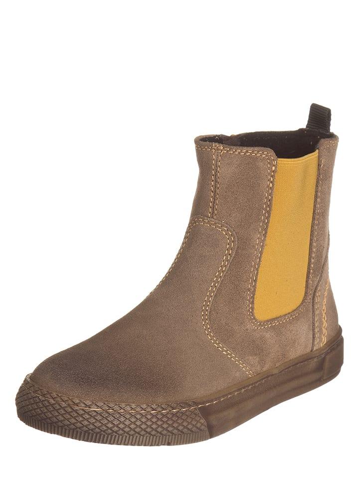 EXK Leder-Boots in Hellbraun/ Senfgelb