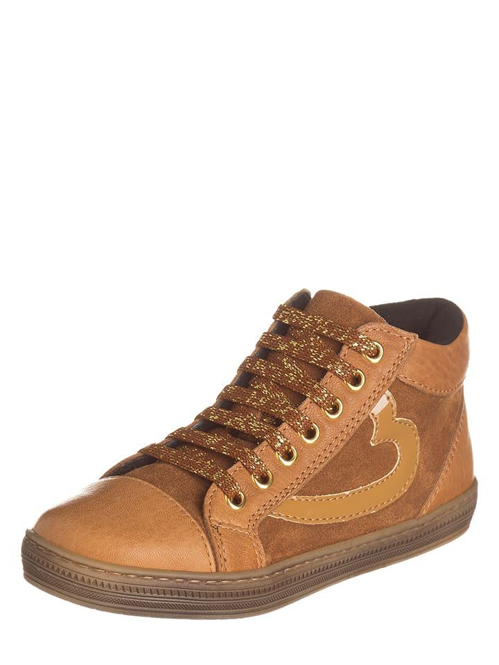 EXK Skórzane sneakersy w kolorze jasnobrązowym