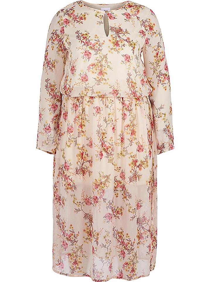 Zizzi Sukienka w kolorze kremowym ze wzorem