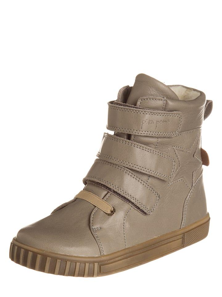 POM POM Skórzane sneakersy w kolorze beżowym