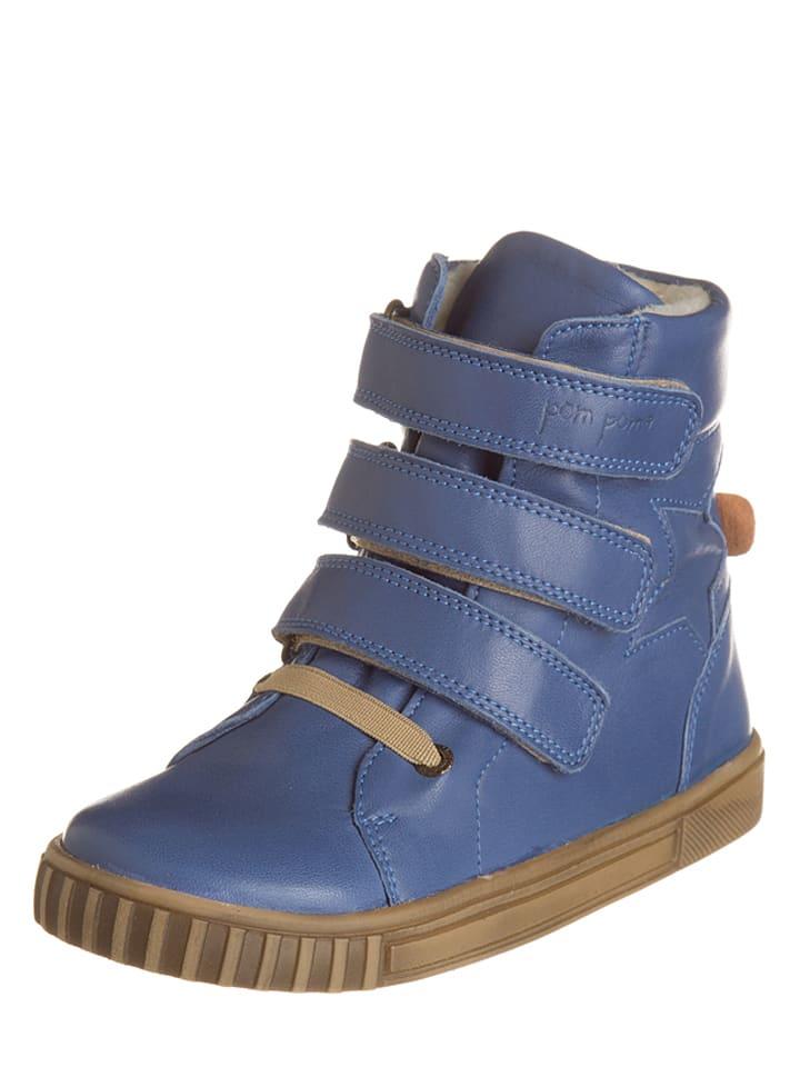 POM POM Skórzane sneakersy w kolorze niebieskim