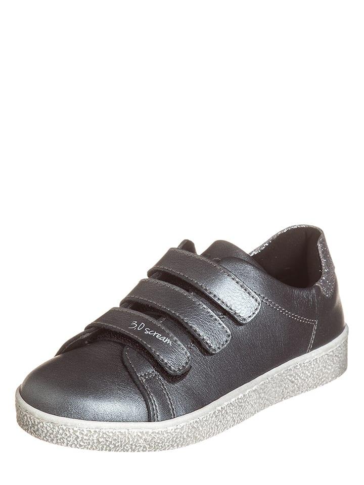 EB Shoes Skórzane sneakersy w kolorze srebrno-szarym