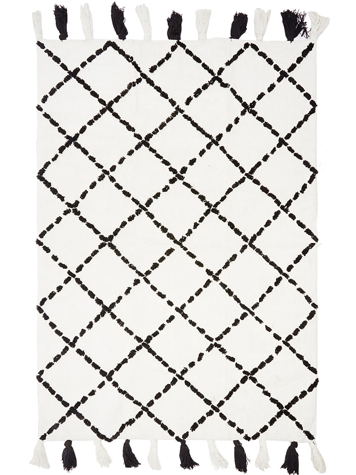 """Ara Textil Baumwoll-Teppich """"Tanger"""" in Schwarz/ Weiß"""