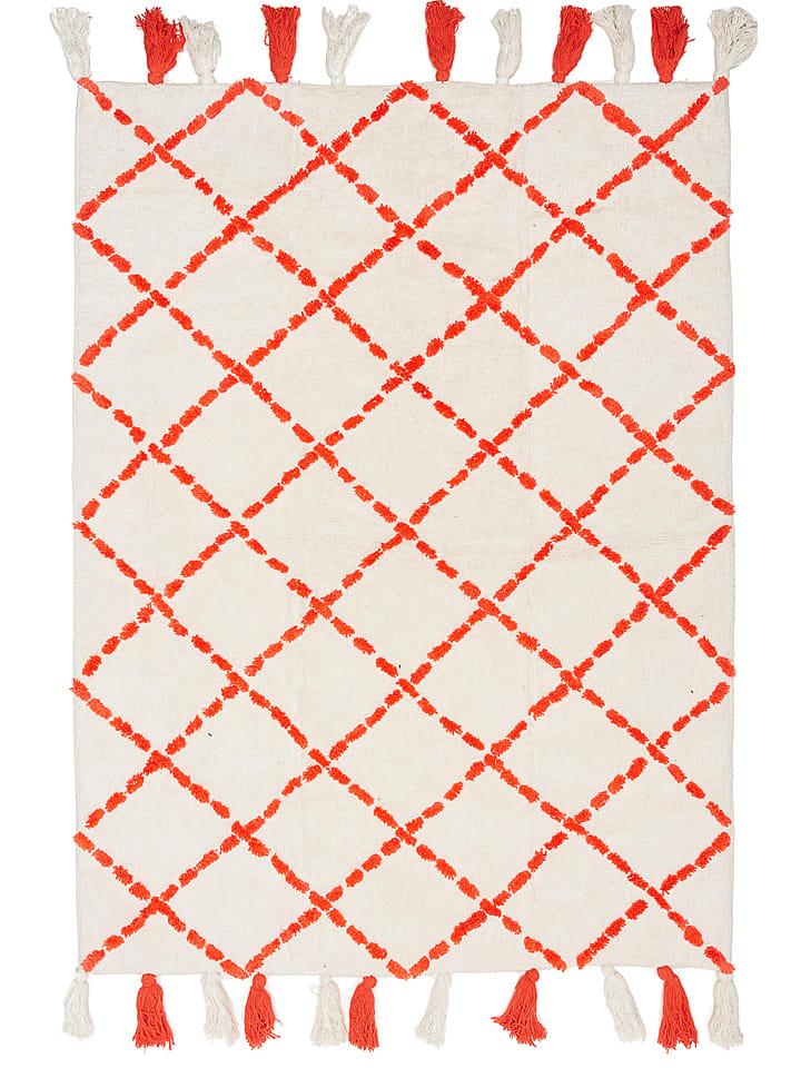 "Ara Textil Baumwoll-Teppich ""Tanger"" in Creme/ Rot"