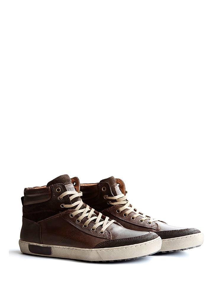 "TRAVELIN' Skórzane sneakersy ""Aberdeen"" w kolorze brązowym"