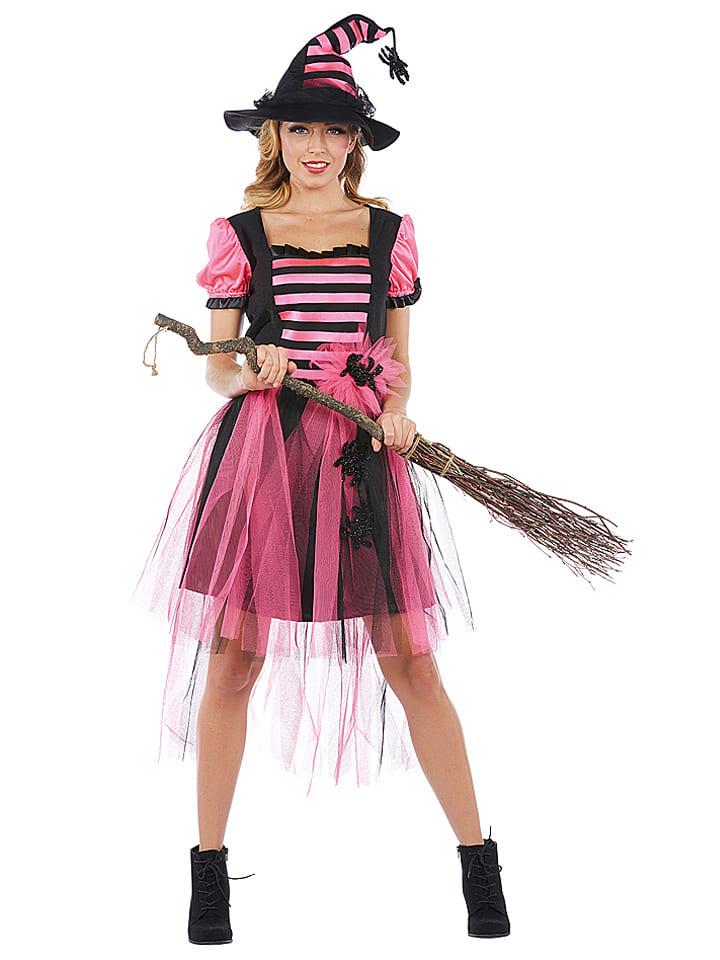 "MOTTOLAND 2tlg. Kostüm ""Hexe Winifred"" in Schwarz/ Pink"