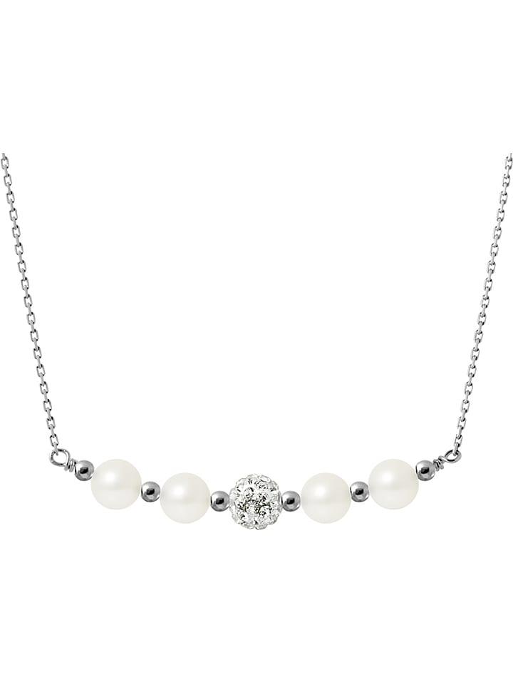 Pearline Collier En Argent Avec Perles De Culture Blanc 42 Cm