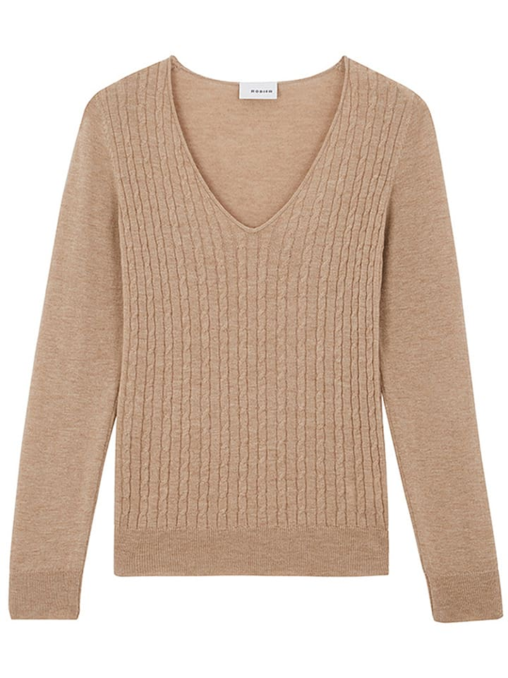 Rodier Wełniany sweter w kolorze jasnobrązowym