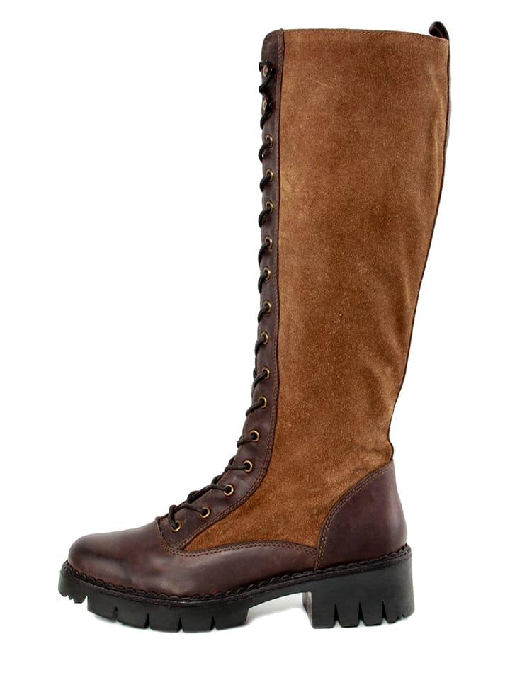 "Gusto Leder-Stiefel ""Nepal"" in Braun"