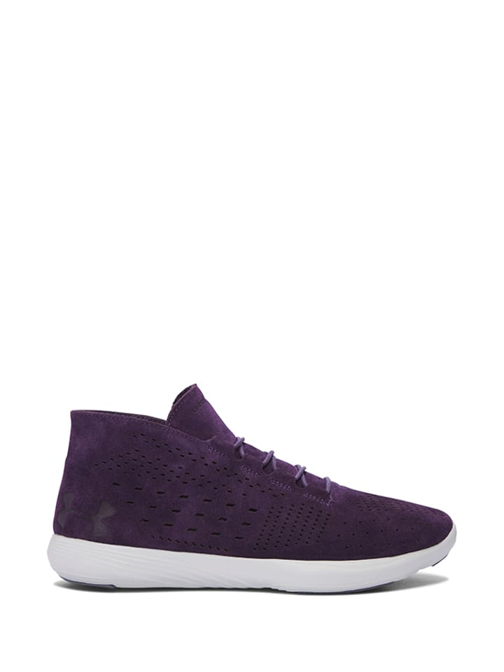 """Under Armour Skórzane buty sportowe """"Street Prec Mid"""" w kolorze fioletowo-białym"""