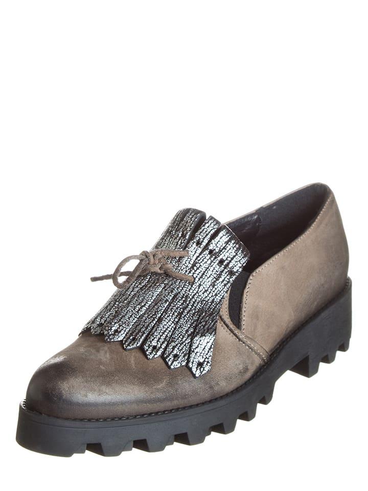 Lazamani Skórzane slippersy w kolorze brązowym