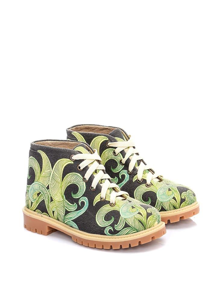 Cotto Ankle-Boots in Schwarz/ Grün