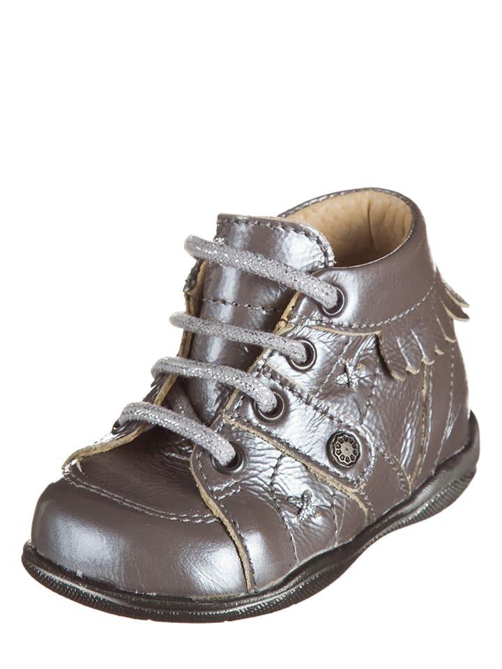 """Little Mary Skórzane buty """"Tafia Lim"""" w kolorze srebrnym do nauki chodzenia"""